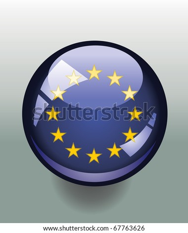 Badge button with European Union flag - stock vector