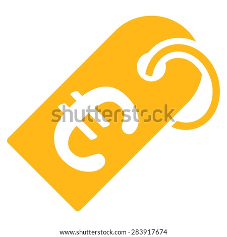 Badge from BiColor Euro Banking Icon Set. Vector style: flat, yellow symbol, rounded angles, white background. - stock vector