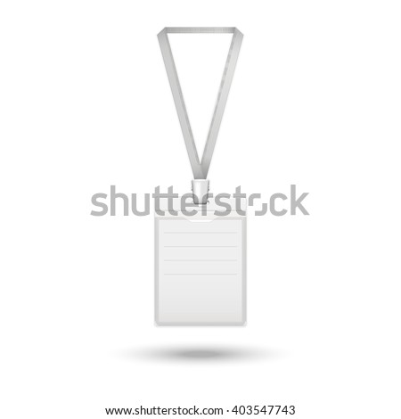 Badge icon.Vector realistic identification card  on the ribbon isolated on a white background with shadow