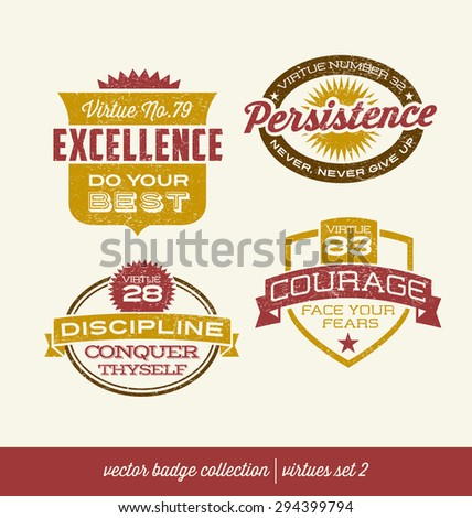 Badge Label Collection With Virtues  Positive Character Traits On Retro  Style Crests  Positive Character Traits