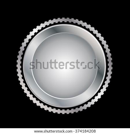 badge . Metal Silver Seal . emblem Old - stock vector