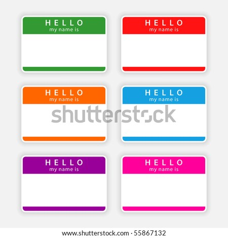 Badge name tag HELLO my name is. Colorful blank label with shadow on gray background - stock vector