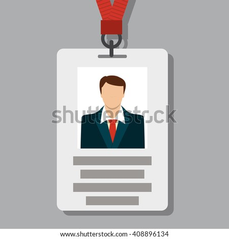 Badge, Pass Card ID in Modern Flat Style Vector Illustration - stock vector