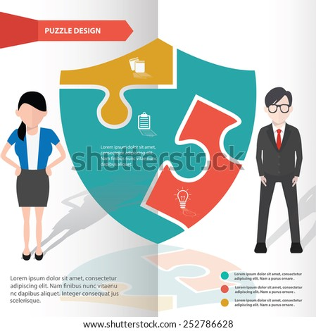 Badge puzzle info graphic design and character,clean vector - stock vector