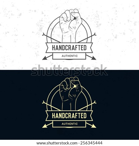 Badge, symbol or logotype with hand. For design elements, business signs, logos, identity, labels, badges and objects in old retro style. - stock vector