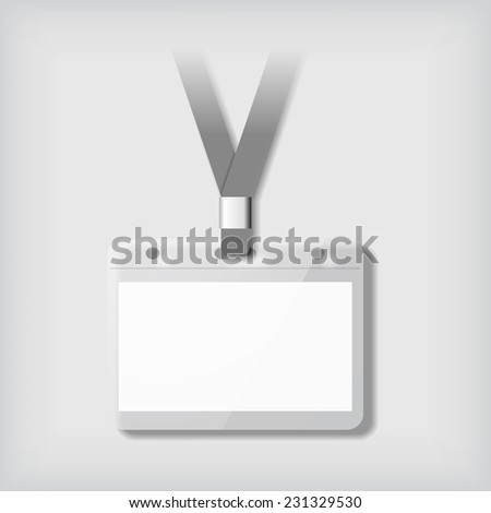 Badge template, identification card with lanyard.  Blank mockup on neutral background. Add your own background, text, logo, or any other design. Vector illustration.