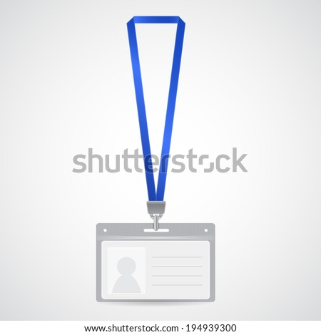 Badge template, name bag holder with lanyard. Identification card. Vector illustration.  - stock vector