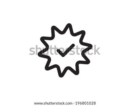 Badge Tick Achivement Outline Icon Symbol - stock vector