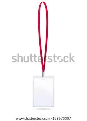badge with a red lanyard on a white background