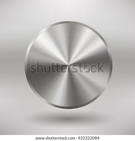 Badge with brushed metal texture, blank button template with realistic metal texture, for users interfaces, applications and apps, EPS 10 contains transparency - stock vector