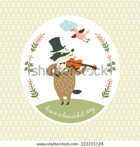 Badger plays the violin, vector illustration - stock vector