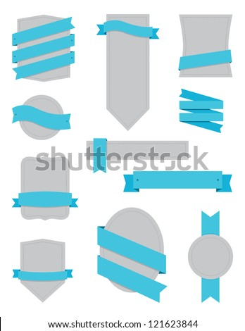 Badges and Ribbons Turquoise - stock vector