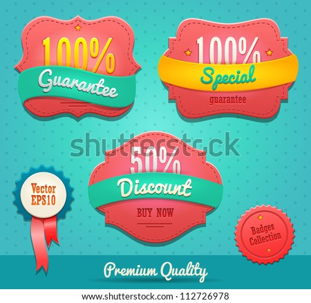 badges collection - stock vector