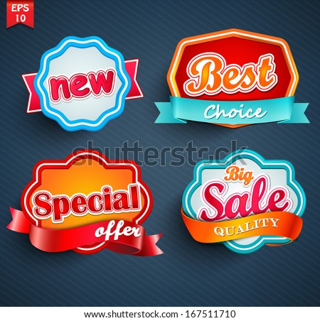 badges collection, vector - stock vector