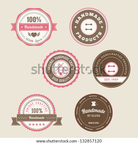 Badges for Handmade Products - stock vector