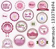 Badges, labels and stickers with various inscriptions on cosmetics - stock vector