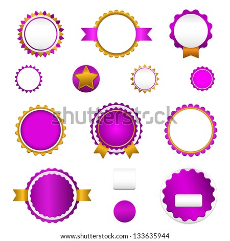 Badges, labels and stickers without text on retail. Designed in purple colors. - stock vector