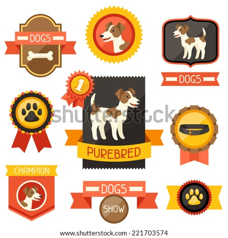 Badges, labels, ribbons with cute dogs, icons and objects. - stock vector