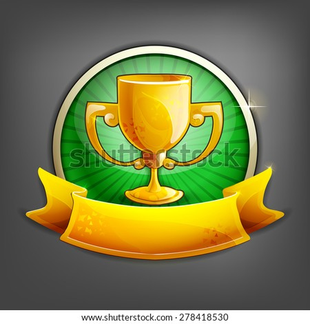 Badges of gold cup. Vector illustration. - stock vector
