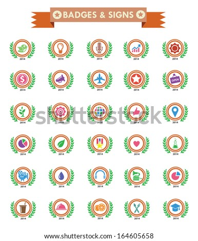 Badges & Sign,Collection of Premium Quality and Guarantee Labels,colorful version - stock vector