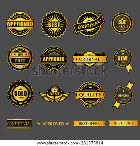 Badges tag label sticker gold set.  For business guarantee, promotion, offer, web element. - stock vector