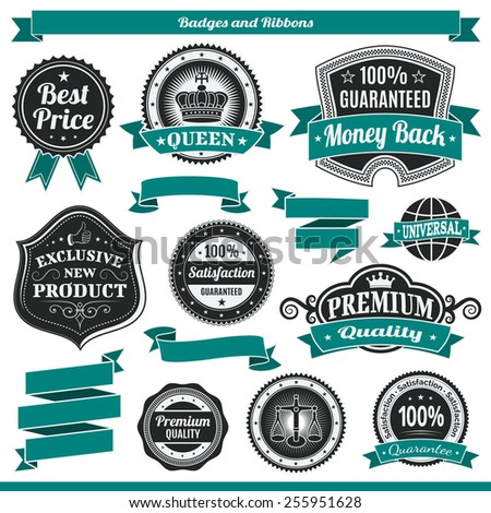 Badges vector set labels and ribbons sticker  - stock vector