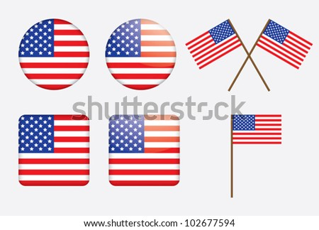 badges with United States flag vector illustration - stock vector