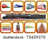 Badges with vehicles traveling on the railroad - stock vector