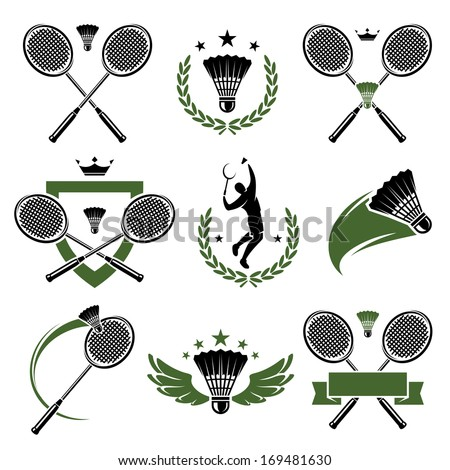 Badminton labels and icons set. Vector  - stock vector