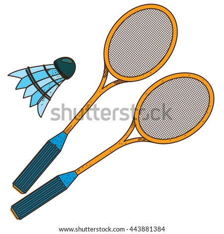 Badminton logo. Sport, hobbies, outdoor recreation color illustration.