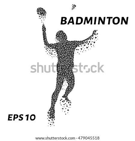 Badminton of the triangles, particle divergent composition, vector illustration