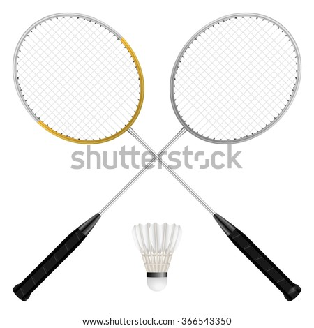 Badminton shuttlecock and rackets on a white background. - stock vector