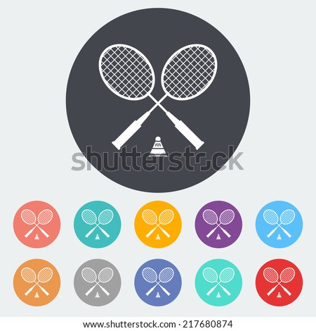 Badminton. Single flat icon on the circle. Vector illustration. - stock vector