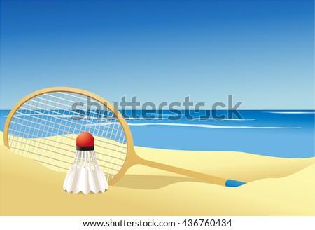 Badminton summer game - stock vector
