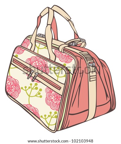 bag for traveling with a flower pattern - stock vector
