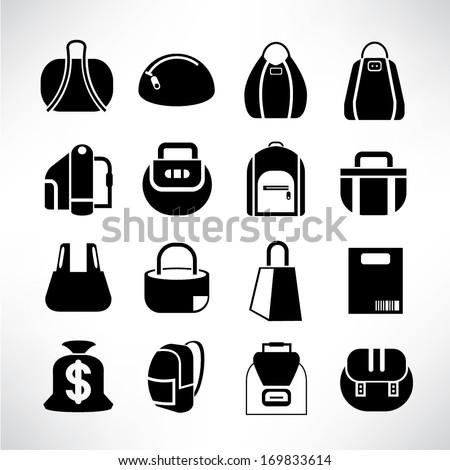 bag icon set - stock vector