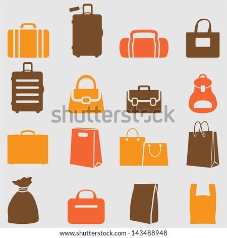 Bag icons set. Vector - stock vector