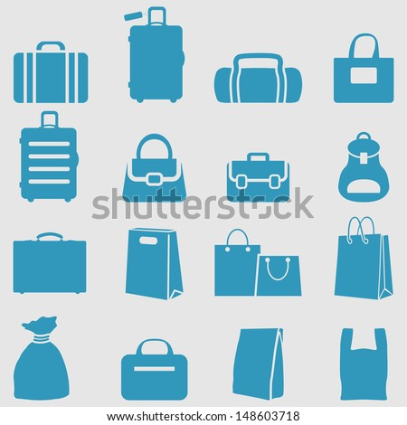 Bag icons set.Vector  - stock vector