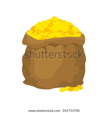 Bag of gold. Many gold coins. Open sack full of treasures. Golden wealth. - stock vector