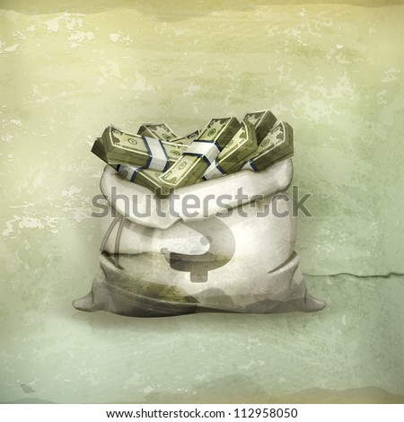 Bag of money, old-style vector - stock vector