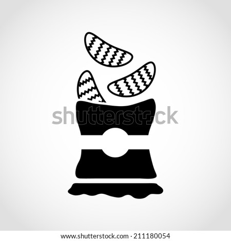Bag of Potato Chips Icon Isolated on White Background - stock vector