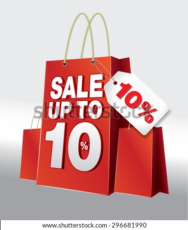 Bag Shoping SALE 10% Red White - stock vector