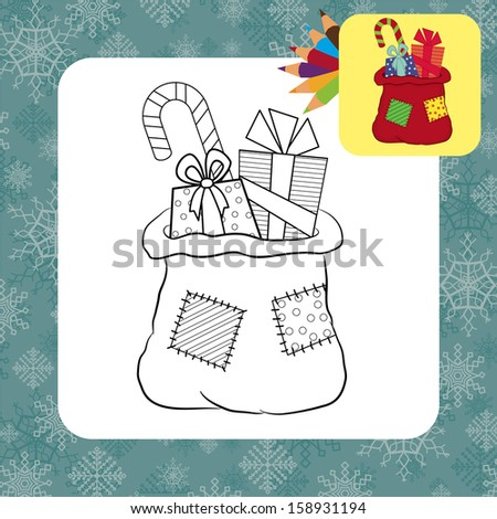 Bag with gifts. Coloring page. Vector illustration - stock vector