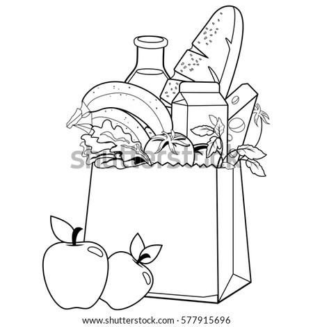 Bag groceries coloring book page stock vector 577915696 for Grocery shopping coloring pages
