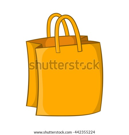 Bag with handles icon in cartoon style isolated on white background. Shopping symbol - stock vector