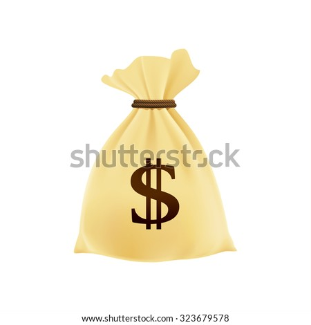 Bag with money. Fat cat. Vector illustration