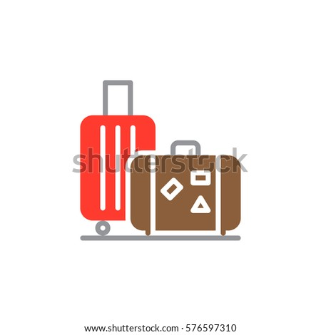 Baggage, luggage icon vector, filled flat sign, solid colorful pictogram isolated on white. Symbol, logo illustration