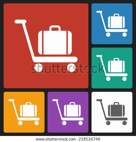 baggage on cart icon - stock vector