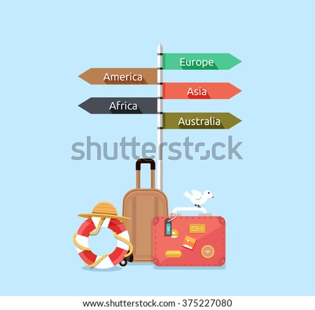 Baggage travel asia america, europe, africa, australia. Travel signpost, direction travel guide, information destination travel, tourism travel way, route travel, guidepost world travel illustration - stock vector