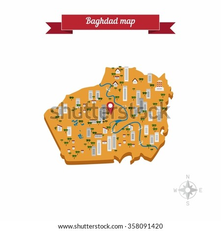 baghdad iraq map flat style design vector